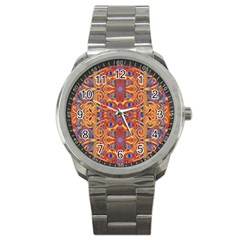 Oriental Watercolor Ornaments Kaleidoscope Mosaic Sport Metal Watch by EDDArt