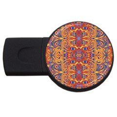Oriental Watercolor Ornaments Kaleidoscope Mosaic Usb Flash Drive Round (4 Gb)  by EDDArt