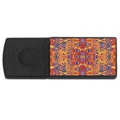 Oriental Watercolor Ornaments Kaleidoscope Mosaic USB Flash Drive Rectangular (4 GB)