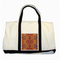 Oriental Watercolor Ornaments Kaleidoscope Mosaic Two Tone Tote Bag by EDDArt