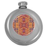 Oriental Watercolor Ornaments Kaleidoscope Mosaic Round Hip Flask (5 oz) Front