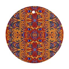 Oriental Watercolor Ornaments Kaleidoscope Mosaic Round Ornament (two Sides)  by EDDArt