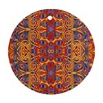 Oriental Watercolor Ornaments Kaleidoscope Mosaic Round Ornament (Two Sides)  Back