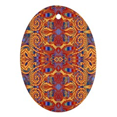 Oriental Watercolor Ornaments Kaleidoscope Mosaic Oval Ornament (two Sides) by EDDArt