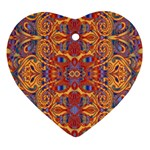 Oriental Watercolor Ornaments Kaleidoscope Mosaic Heart Ornament (2 Sides) Front