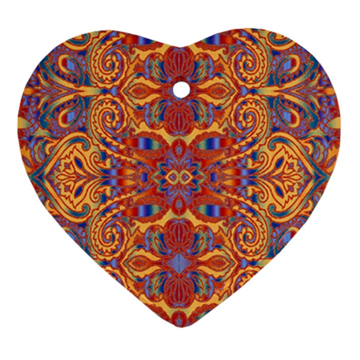 Oriental Watercolor Ornaments Kaleidoscope Mosaic Heart Ornament (2 Sides)