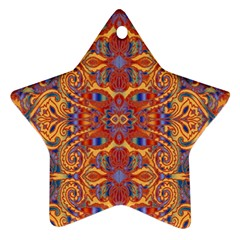 Oriental Watercolor Ornaments Kaleidoscope Mosaic Star Ornament (two Sides)