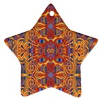 Oriental Watercolor Ornaments Kaleidoscope Mosaic Star Ornament (Two Sides)  Back
