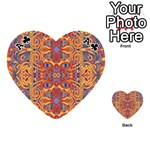 Oriental Watercolor Ornaments Kaleidoscope Mosaic Playing Cards 54 (Heart)  Front - ClubA