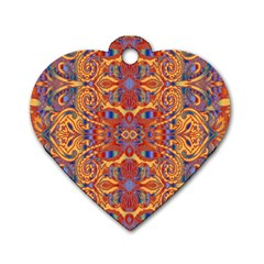 Oriental Watercolor Ornaments Kaleidoscope Mosaic Dog Tag Heart (two Sides) by EDDArt