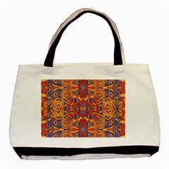 Oriental Watercolor Ornaments Kaleidoscope Mosaic Basic Tote Bag (two Sides) by EDDArt
