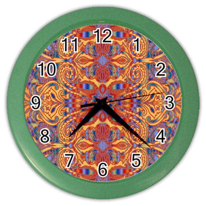 Oriental Watercolor Ornaments Kaleidoscope Mosaic Color Wall Clocks