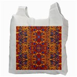 Oriental Watercolor Ornaments Kaleidoscope Mosaic Recycle Bag (Two Side)  Back