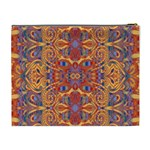 Oriental Watercolor Ornaments Kaleidoscope Mosaic Cosmetic Bag (XL) Back