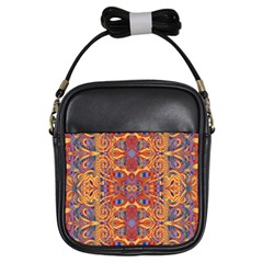 Oriental Watercolor Ornaments Kaleidoscope Mosaic Girls Sling Bags by EDDArt