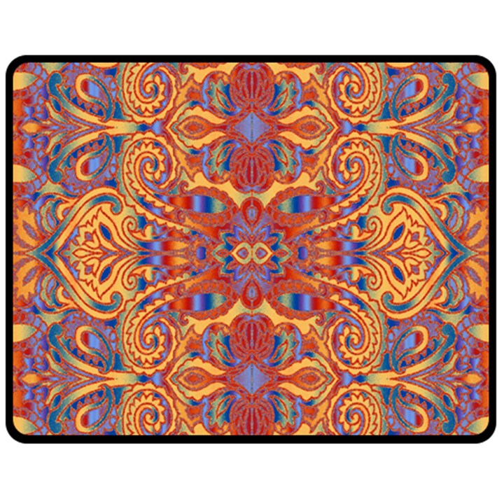 Oriental Watercolor Ornaments Kaleidoscope Mosaic Fleece Blanket (Medium)