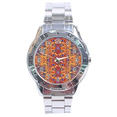 Oriental Watercolor Ornaments Kaleidoscope Mosaic Stainless Steel Analogue Watch