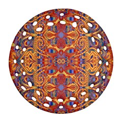 Oriental Watercolor Ornaments Kaleidoscope Mosaic Round Filigree Ornament (2side) by EDDArt