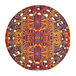 Oriental Watercolor Ornaments Kaleidoscope Mosaic Round Filigree Ornament (2Side)