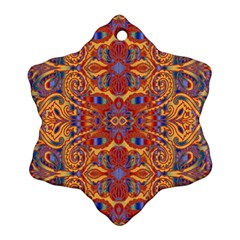 Oriental Watercolor Ornaments Kaleidoscope Mosaic Snowflake Ornament (2 Side) by EDDArt