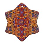 Oriental Watercolor Ornaments Kaleidoscope Mosaic Snowflake Ornament (2-Side) Back