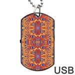 Oriental Watercolor Ornaments Kaleidoscope Mosaic Dog Tag USB Flash (One Side) Front