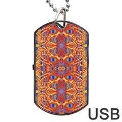 Oriental Watercolor Ornaments Kaleidoscope Mosaic Dog Tag Usb Flash (two Sides)  by EDDArt