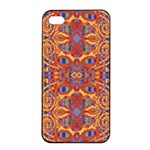 Oriental Watercolor Ornaments Kaleidoscope Mosaic Apple iPhone 4/4s Seamless Case (Black) Front