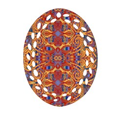 Oriental Watercolor Ornaments Kaleidoscope Mosaic Oval Filigree Ornament (2 Side)