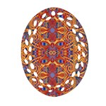 Oriental Watercolor Ornaments Kaleidoscope Mosaic Oval Filigree Ornament (2-Side)  Front
