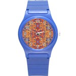 Oriental Watercolor Ornaments Kaleidoscope Mosaic Round Plastic Sport Watch (S) Front