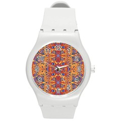 Oriental Watercolor Ornaments Kaleidoscope Mosaic Round Plastic Sport Watch (m) by EDDArt
