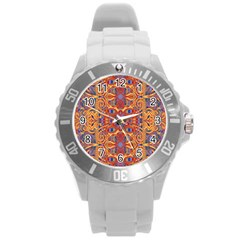 Oriental Watercolor Ornaments Kaleidoscope Mosaic Round Plastic Sport Watch (l) by EDDArt