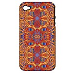 Oriental Watercolor Ornaments Kaleidoscope Mosaic Apple iPhone 4/4S Hardshell Case (PC+Silicone)