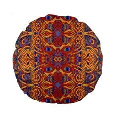Oriental Watercolor Ornaments Kaleidoscope Mosaic Standard 15  Premium Round Cushions by EDDArt