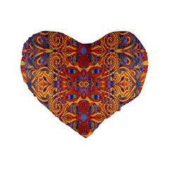 Oriental Watercolor Ornaments Kaleidoscope Mosaic Standard 16  Premium Heart Shape Cushions by EDDArt