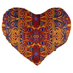 Oriental Watercolor Ornaments Kaleidoscope Mosaic Large 19  Premium Heart Shape Cushions by EDDArt