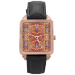 Oriental Watercolor Ornaments Kaleidoscope Mosaic Rose Gold Leather Watch  Front