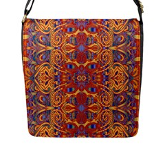 Oriental Watercolor Ornaments Kaleidoscope Mosaic Flap Messenger Bag (l)  by EDDArt