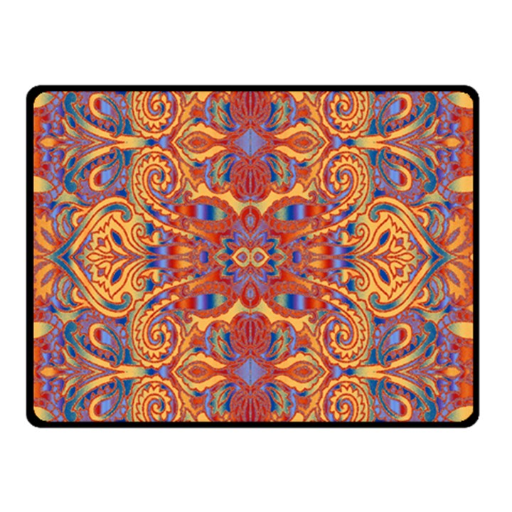 Oriental Watercolor Ornaments Kaleidoscope Mosaic Double Sided Fleece Blanket (Small)