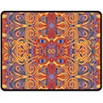 Oriental Watercolor Ornaments Kaleidoscope Mosaic Double Sided Fleece Blanket (Medium)  58.8 x47.4 Blanket Front