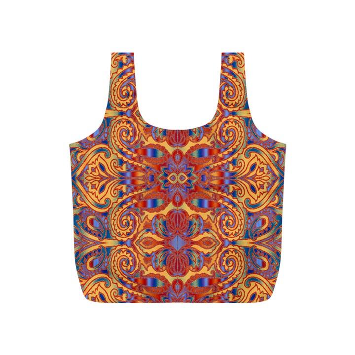 Oriental Watercolor Ornaments Kaleidoscope Mosaic Full Print Recycle Bags (S)
