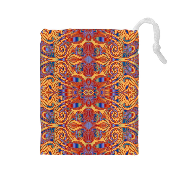 Oriental Watercolor Ornaments Kaleidoscope Mosaic Drawstring Pouches (Large)
