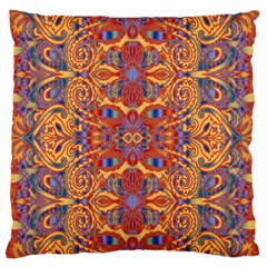 Oriental Watercolor Ornaments Kaleidoscope Mosaic Large Flano Cushion Case (two Sides) by EDDArt
