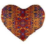 Oriental Watercolor Ornaments Kaleidoscope Mosaic Large 19  Premium Flano Heart Shape Cushions Front