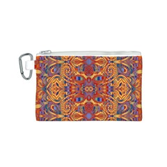 Oriental Watercolor Ornaments Kaleidoscope Mosaic Canvas Cosmetic Bag (s) by EDDArt