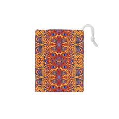 Oriental Watercolor Ornaments Kaleidoscope Mosaic Drawstring Pouches (xs)  by EDDArt