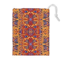 Oriental Watercolor Ornaments Kaleidoscope Mosaic Drawstring Pouches (extra Large) by EDDArt