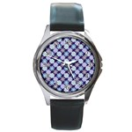 Snowflakes Pattern Round Metal Watch