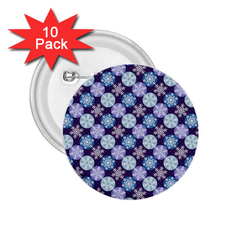 Snowflakes Pattern 2.25  Buttons (10 pack)